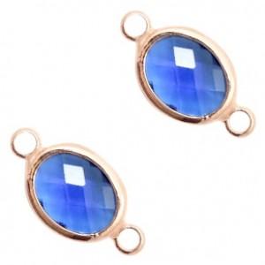 Tussenzetsel crystal glas ovaal 16x10mm denim blue crystal / rose