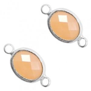 Tussenzetsel crystal glas ovaal 16x10mm light peach opal / zilver
