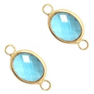 Tussenzetsel crystal glas ovaal 16x10mm turquoise blue crystal / goud