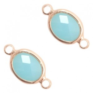 Tussenzetsel crystal glas ovaal 16x10mm turquoise blue opal / rose