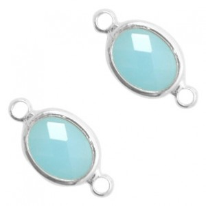 Tussenzetsel crystal glas ovaal 16x10mm turquoise blue opal / zilver