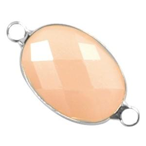 Tussenzetsel crystal glas ovaal facet geslepen 13x18mm peach opal / zilver