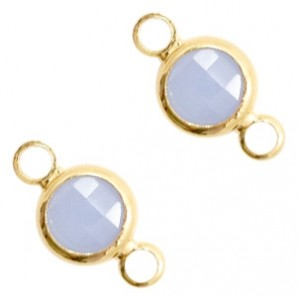Tussenzetsel crystal glas rond 12x6mm air blue opal / goud