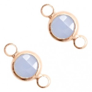 Tussenzetsel crystal glas rond 12x6mm air blue opal / rose