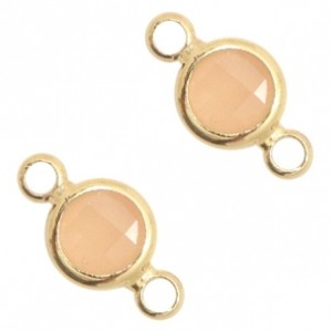 Tussenzetsel crystal glas rond 12x6mm light peach opal / goud