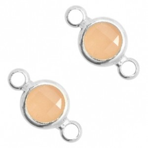 Tussenzetsel crystal glas rond 12x6mm light peach opal / zilver