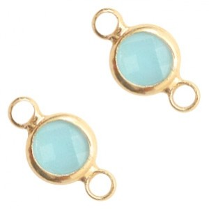 Tussenzetsel crystal glas rond 12x6mm turquoise blue opal / goud