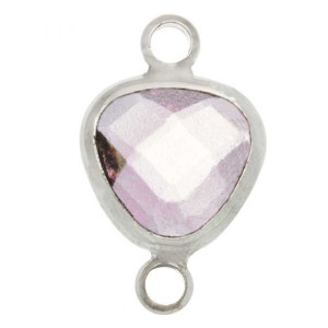 Tussenzetsel crystal glass transparent pink triangle zilver 16x9 mm