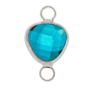 Tussenzetsel crystal glass transparent teal triangle zilver 16x9 mm