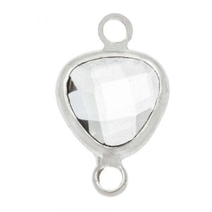 Tussenzetsel crystal glass transparent  triangle zilver 16x9 mm