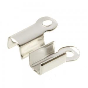 Veterklem / lintklem 3mm zilver (5x10x3mm)
