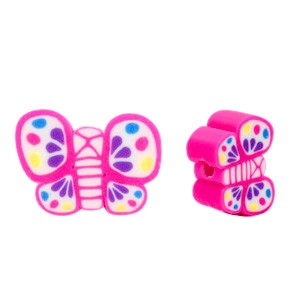 Vlinder kraal roze 12x9mm (per stuk)