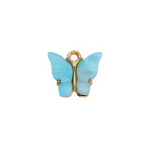 bedel vlinder turquoise goud 13x15mm