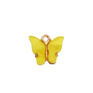 bedel vlinder geel goud 13x15mm