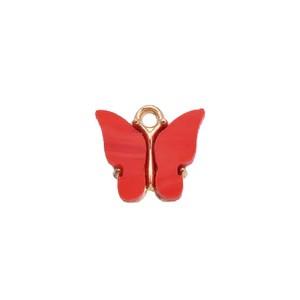 bedel vlinder rood roze goud 13x15mm