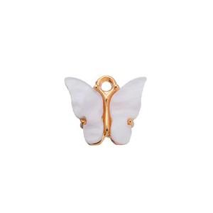 bedel vlinder wit goud 13x15mm