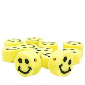 Voordeel verpakking smiley kraal polymeer 10mm geel (per 40 stuks)
