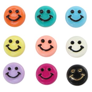 Voordeel verpakking smiley kraal rond 10mm multicolor (per 100 stuks)