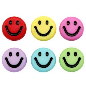 Voordeel verpakking smiley kraal rond 7mm multecolor  (per 100 stuks)