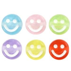 Voordeel verpakking smiley kraal rond 7mm multicolor transparant  (per 100 stuks)