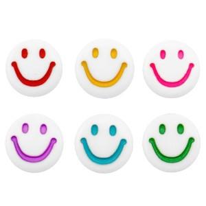 Voordeel verpakking smiley kraal rond 7mm white multecolor  (per 100 stuks)