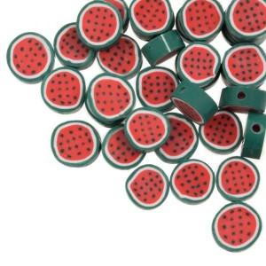 Watermeloen kraal rood groen rond 10mm (per stuk)