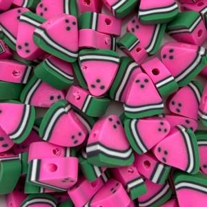 Watermeloen kraal roze 11mm (per stuk)