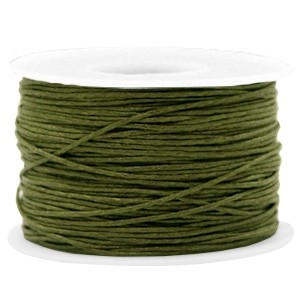 Waxkoord 1mm army green per meter