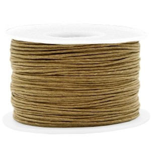 Waxkoord 1mm khaki brown per meter