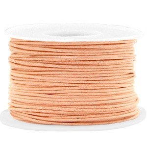 Waxkoord 1mm peach cream per meter
