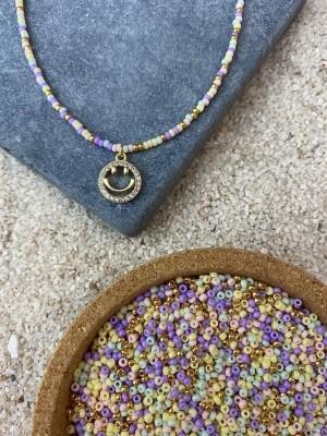 DIY pakket kralenketting pastel goud met smiley bedel