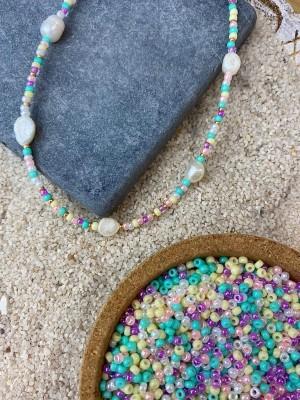 DIY pakket pastel rainbow mix goud met 5 zoetwaterparels