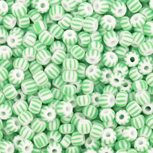 preciosa-rocailles-80-29mm-5-gram-striped-white-mint-green