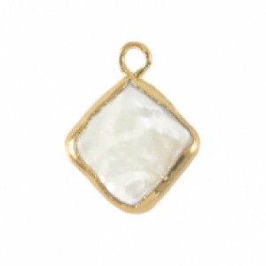 Zoetwaterparel bedel rhombus golden natural white 24x7mm