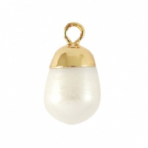 Zoetwaterparel bedel round golden natural white 24x20mm
