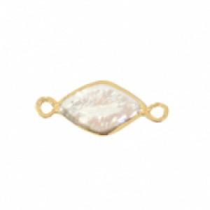 Zoetwaterparel tussenstuk rhombus golden natural white 24x20mm